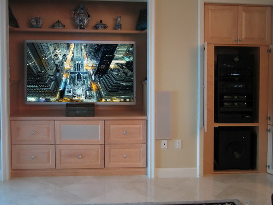 home entertainment system with custom built cabinet
