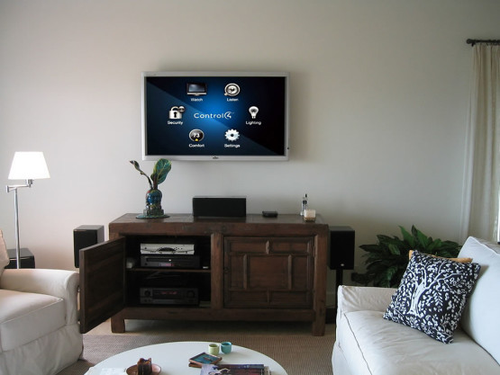 smart home technology displayed on the tv