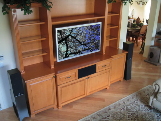 home entertainment system with two tall speakers