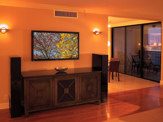 large tv mounted on living room wall